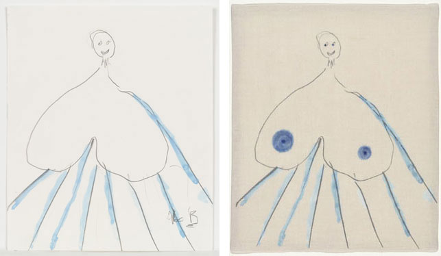 "Louise Bourgeois. Untitled, no. 7 of 36, from the series, The Fragile. 2007. Left: Watercolor and pencil on paper, sheet: 9 1/2 x 8"" (24.1 x 20.3 cm). Right: Digital print, with blue dye additions, sheet: 11 1/2 x 9 1/2"" (29.2 x 24.1 cm). © 2013 Louise Bourgeois Trust"