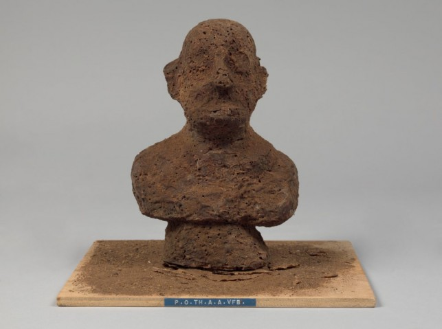 Dieter Roth. P.O.TH.A.A.VFB (Portrait of the artist as a Vogelfutterbüste [birdseed bust]). 1968. Multiple of chocolate and birdseed, overall: 8 1/4 x 5 1/2 x 4 3/4″ (21 x 14 x 12 cm). Publisher: Hake Verlag, Cologne. Fabricator: Rudolf Rieser, Cologne. Edition: 30. The Museum of Modern Art, New York. Sue and Edgar Wachenheim III Endowment Fund and acquired through the generosity of Peter H. Friedland. © 2013 Estate of Dieter Roth. Photo by John Wronn