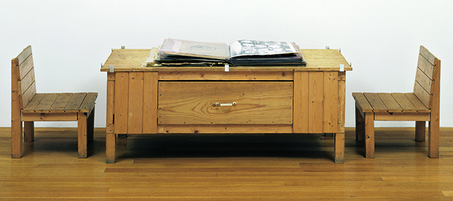 Dieter Roth. Snow. 1964/69. Artist's book of mixed mediums, with wood table and two wood chairs. The Museum of Modern Art, New York. Committee on Painting and Sculpture Funds, 1998. © 2013 Estate of Dieter Roth