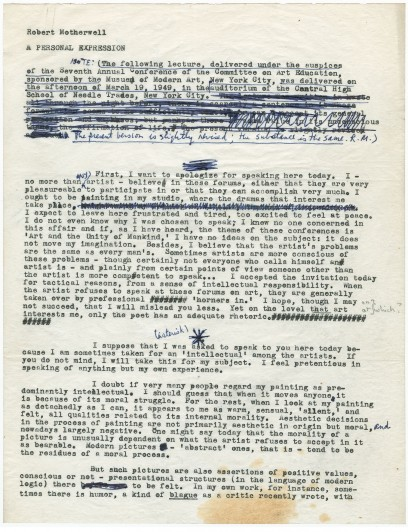 "Page one of five, transcript, ""A Personal Expression,"" by Robert Motherwell. c. 1949. George Wittenborn, Inc. Papers, I.B.23. The Museum of Modern Art Archives, New York. Text © Dedalus Foundation, Inc./Text permission granted by Dedalus Foundation, Inc."