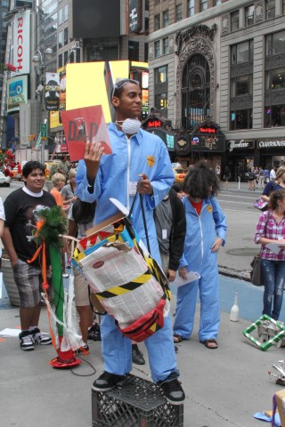 MoMA Teens stage a performance event in Times Square during the summer 2012 season of In the Making