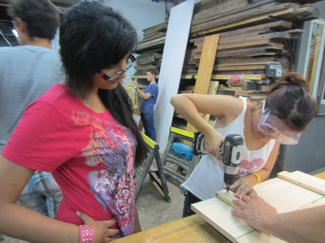 Summer 2012 In the Making teens learn woodworking techniques during a weeklong residency at Tri-Lox Studios in Brooklyn