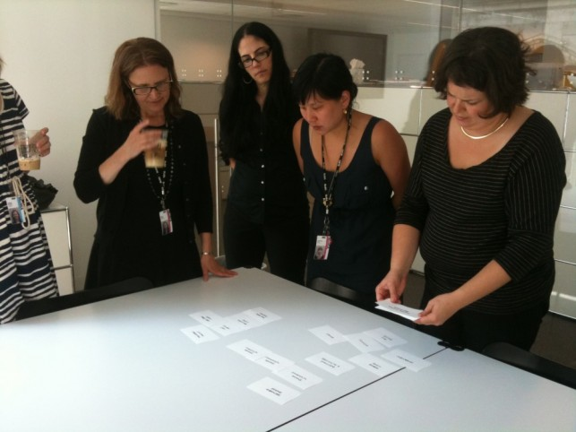 Members of the MoMA Learning team plan the structure of the website redesign.