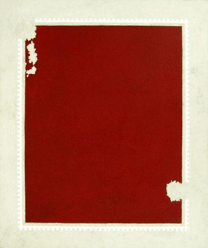Moreno Red Territory White Invasion, 1989, oil on canvasboard, 56 x 46 cm