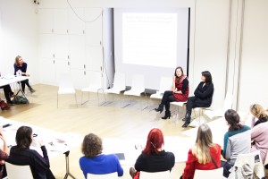 MoMA Alzheimer's Project staff-members Laurel Humble and Meryl Schwartz speak at the Stedelijk Museum. Photo: Tomek Whitfield