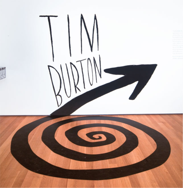 Title wall for the exhibition <em>Tim Burton</em> on view at MoMA November 22, 2009–April 26, 2010