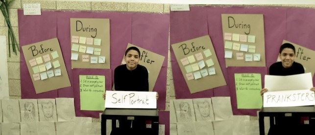 Students presented their work at MoMA and back at the school. Here, one student shows off his self-portrait project