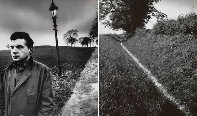"Left: Bill Brandt. The Pilgrim's Way, Kent. 1950. Gelatin silver print, 9 x 75⁄8"" (22.9 x 19.4 cm). EHG. © 2013 Bill Brandt Archive Ltd. Right: Bill Brandt. Francis Bacon Walking on Primrose Hill, London. 1963. Gelatin silver print, 91⁄4 x 71⁄2"" (23.5 x 19.1 cm). Collection David Dechman and Michel Mercure. © 2013 Bill Brandt Archive Ltd."