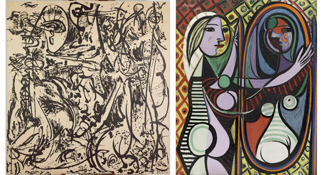 From left: Jackson Pollock. <em>Echo: Number 25, 1951.</em> 1951. Enamel paint on canvas. Acquired through the Lillie P. Bliss Bequest and the Mr. and Mrs. David Rockefeller Fund. © 2013 Pollock-Krasner Foundation/Artists Rights Society (ARS), New York; Pablo Picasso. <em>Girl Before a Mirror.</em> 1932. Oil on canvas.  Gift of Mrs. Simon Guggenheim. © 2013 Estate of Pablo Picasso/Artists Rights Society (ARS), New York