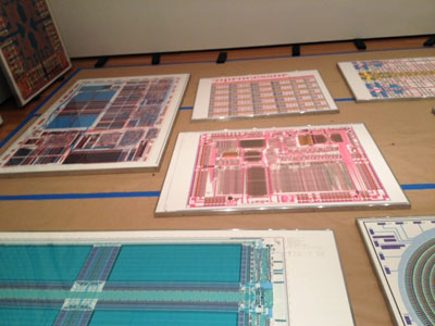 Computer-chip diagrams laid out during installation of <i>Artist's Choice: Trisha Donnelly</i>
