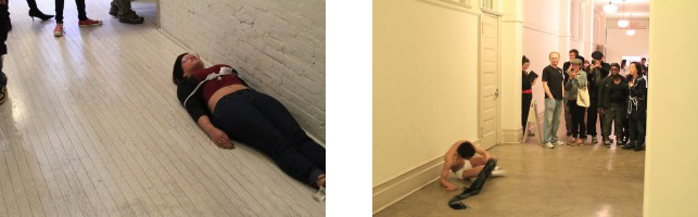 From left:Bianca, bound and laying on the hallway floor; Christian dances and yells in the MoMA PS1 hallway