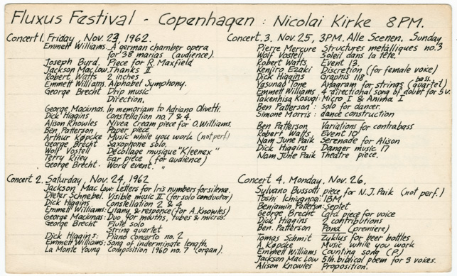 Fluxus founder George Maciunas kept index cards which listed the works that were performed at concerts and festivals organized by him and his fellow artists. Along with photographs and recordings, written accounts such as these are the only records we have of such historical performances. Silverman Fluxus Archives, V.D.1.8.