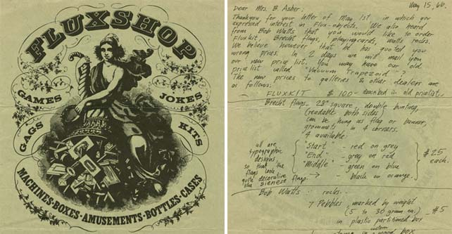 The image on the left is a lovely example of George Maciunas's graphic design work, which is certainly a work of art. But as he used it as stationery – the letter to the right was written on its back in 1966 – it's also an important archival document. Detail of Fluxshop stationery, with letter from George Maciunas to Betty Asher on verso, Silverman Fluxus Archives, V.A.1.1.