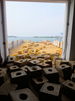 Sheela Gowda. Stopover. 2012. Grinding stones. Installation view, Kochi-Muziris Biennale, Kochi, December 12, 2012–March 17, 2013
