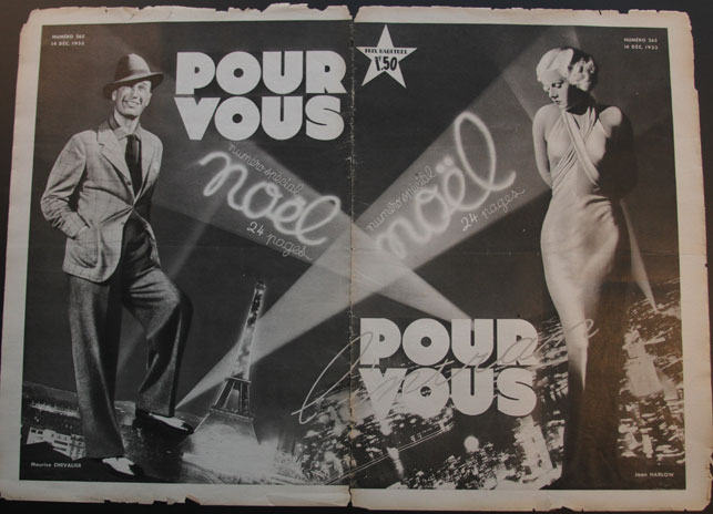 Jean Harlow and Maurice Chevalier on the cover of Pour Vous, December 14, 1933
