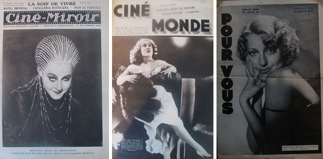 From left: Brigitte Helm on the cover of Ciné-Miroir, April 16, 1927; Fay Wray on the cover of Cinémonde, September 14, 1933; Jeanette Mac Donald on the cover of Pour Vous, January 30, 1936