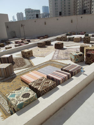 Décor in the Sharjah Biennial's outdoor Mirage City Cinema