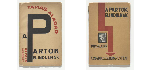 From left: Alexander (Sándor) Bortnyik. A partok elindulnak (The shores heading out) by Aladár Tamás. 1925; Lajos Kassák. A partok elindulnak (The shores heading out) by Aladár Tamás. 1925