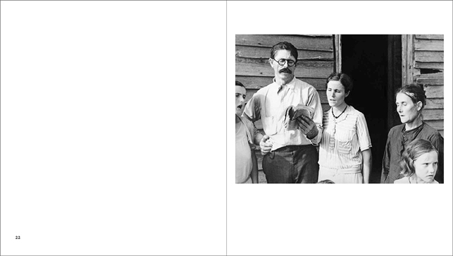 Spread from Walker Evans: American Photographs showing Alabama Tenant Farmer Family Singing Hymns