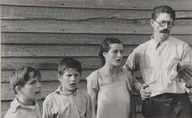 "Walker Evans. Alabama Tenant Farmer Family Singing Hymns. 1936. Gelatin silver print. 4 13/16 × 7 13/16"" (12.3 × 19.8 cm). Gift of the photographer"