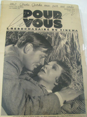 Claudette Colbert and Clark Gable on the cover of Pour Vous, May 3, 1934