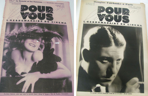 Marlene Dietrich on the cover of Pour Vous, May 18, 1933; Jean Gabin on the cover of Pour Vous, November 26, 1931
