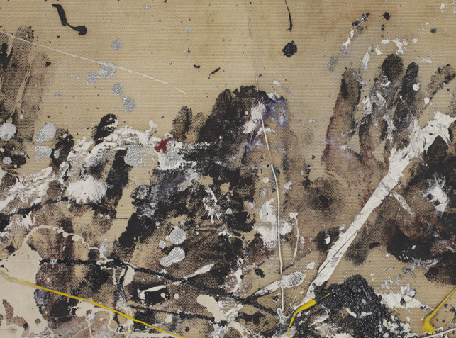 Pollock applied artist oil paints to his hands and pressed them to the canvas