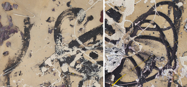 Left: Moving away from direct bodily contact with the canvas, Pollock makes use of a brush for applying paint. Here one can see black brushstrokes; Right: Similarly, Pollock uses the paint tube as a tool for regulating his mark-making