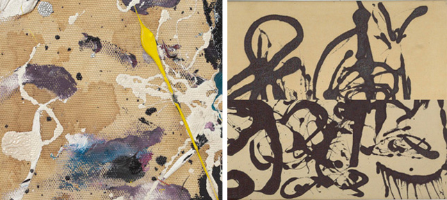 Left: A detail of the mottled darkening observed across the canvas of Number 1A; Right: A comparison of Echo's upper and lower right corners. Note, the discoloration is evident, but it manifests in an even gradation: darkest at the top of the painting