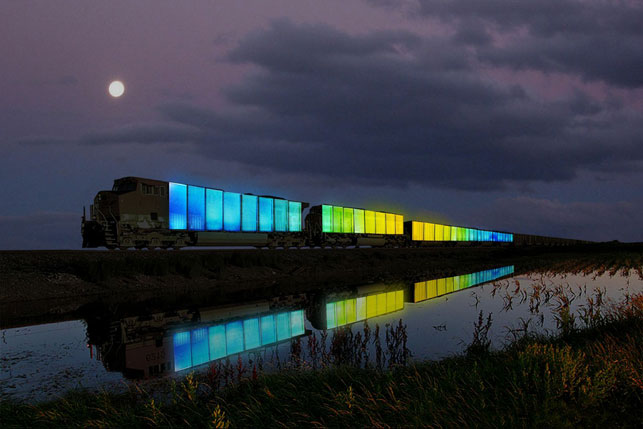 Rendering of the Station to Station train. © Doug Aitken