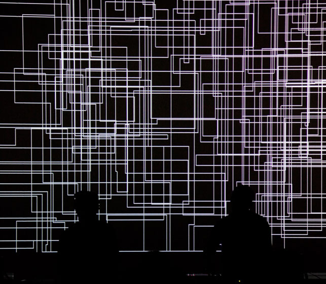 cyclo. (Ryoji Ikeda and Carsten Nicolai) in performance, 2011. Photo: YCAM Yamaguchi Center for Arts and Media
