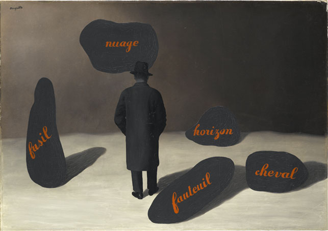 "René Magritte. L'apparition (The Apparition). 1928. Oil on canvas, 31 7/8 x 45 11/16"" (81 x 116 cm). Staatsgalerie Stuttgart. © Charly Herscovici-–ADAGP—ARS, 2013"