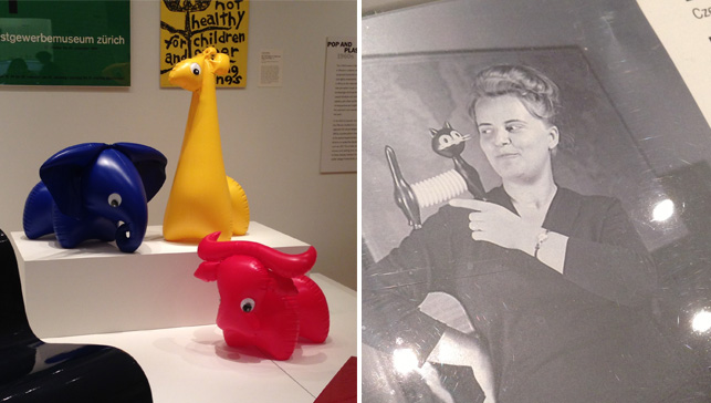 Libuše Niklová. Inflatables (left) in Designing Modern Women 1890–1990 and photo of the artist (right)