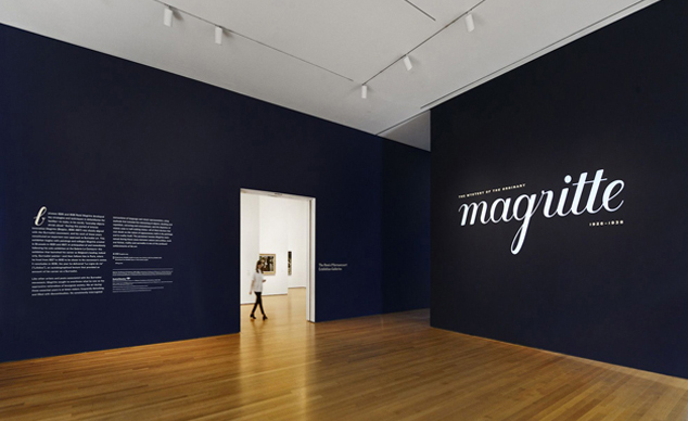 Title wall of Magritte: The Mystery of the Ordinary, 1926–1938 at The Museum of Modern Art. Photo: Martin Seck