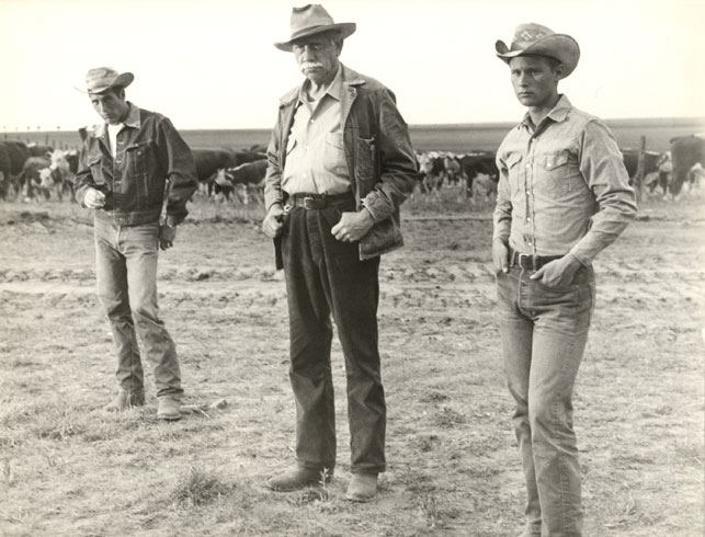Paul Newman, Melvyn Douglas, and Brandon De Wilde in <i>Hud.</i> 1963. USA. Directed by Martin Ritt