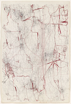 "León Ferrari. Sin título (Sermón de la sangre) (Untitled [Sermon of the Blood]).1962. Ink and colored ink on paper, 39 3/8 x 26 5/8"" (100 x 67.6 cm)"