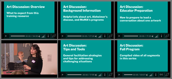 A screenshot of our new training videos, available online at MoMA.org/meetme/practice