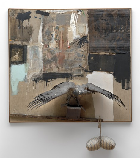 Robert Rauschenberg. <em>Canyon.</em> 1959. Oil, pencil, paper, metal, photograph, fabric, wood, canvas, buttons, mirror, taxidermied eagle, cardboard, pillow, paint tube and other materials, 81 3/4 x 70 x 24