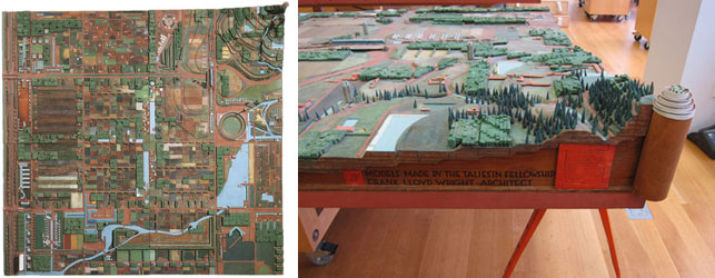 Left: Birdseye view of the model. Right: Detail showing label with signatures of Wright and his fellows