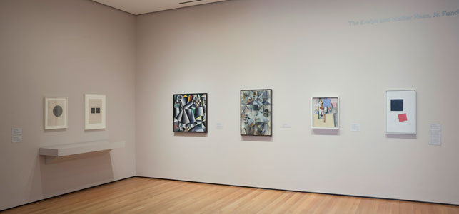 A view of Russian avant-garde works in MoMA's fifth-floor Painting and Sculpture Galleries