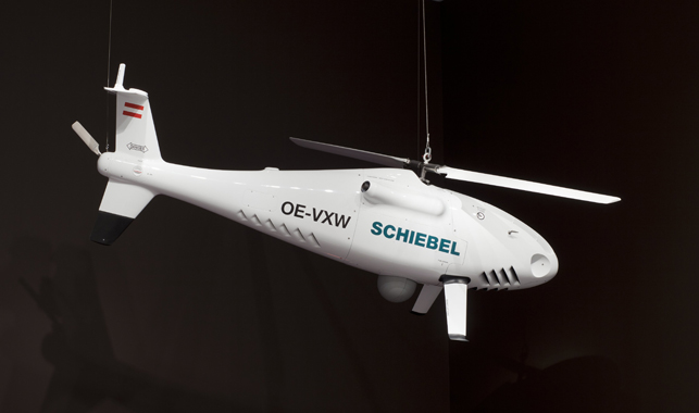 Gerhard Heufler and Hans Georg Shiebel. Camcopter S-100 Unmanned Aerial Vehicle, 2004. Carbon fiber and titanium. Manufactured by Schiebel Elektronische Geräte GmbH (Austria, est. 1951).  Gift of the manufacturer, 2006. The Museum of Modern Art, N