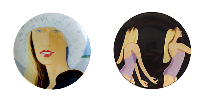 Alex Katz. Jessica dessert plate (left); Sarah Mearns dessert plate (right). 2013