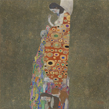 "Gustav Klimt. <i>Hope, II</i>. 1907–08, Oil, gold, and platinum on canvas, 43 1/2 x 43 1/2"" (110.5 x 110.5 cm). Jo Carole and Ronald S. Lauder and Helen Acheson Funds, and Serge Sabarsky"