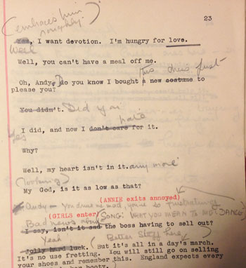 Page detail of the Apple Tree Farm script, with Ida Lupino's handwritten notes