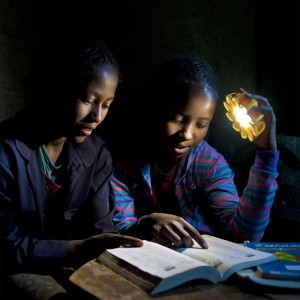 Little Sun in use for reading. Photo: Michael Tsegaye