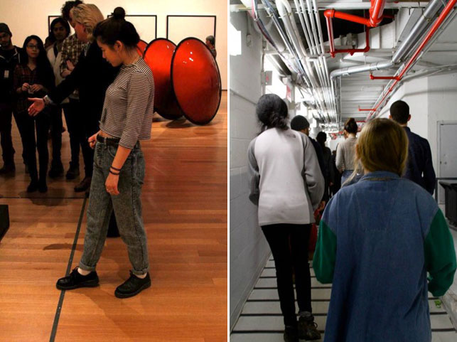 From left: Shulian crosses the line during LJ's walkthrough. Walking through the underground passageways of the Museum