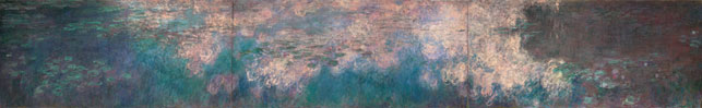 "Claude Monet. <i>Water Lilies</i>. 1914–26. Oil on canvas, three panels, each 6' 6 3/4"" x 13' 11 1/4"" (200 x 424.8 cm), overall 6' 6 3/4"" x 41' 10 3/8"" (200 x 1276 cm). Mrs. Simon Guggenheim Fund"