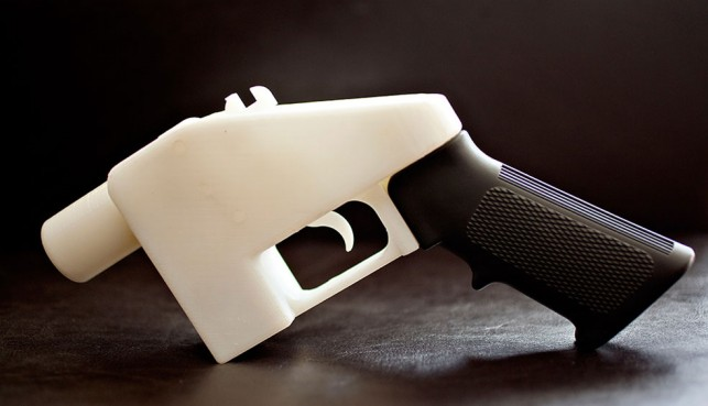 "Defense Distributed. The Liberator pistol. 2013. BSplus thermoplastic, nail, 2 1/2 x 8 1/2"" (6.35 x 21.59 cm). Photo: Michael Thad Carter for Forbes. Courtesy of Defense Distributed"