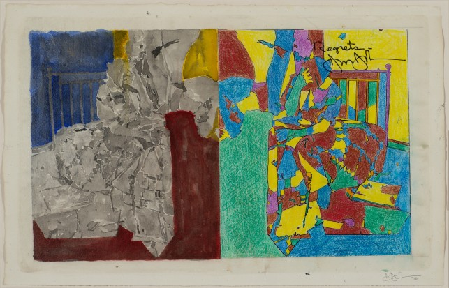 Jasper Johns. Study for Regrets. 2012. Acrylic, photocopy collage, colored pencil, ink and watercolor on paper, 11 3/8 × 17 3/4″ (28.9 × 45.1 cm). Art © Jasper Johns/Licensed by VAGA, New York, NY. Photo: Jerry Thompson
