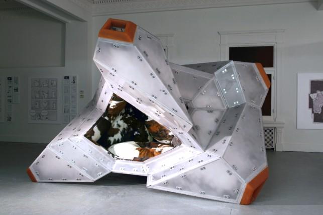 "Jimenez Lai. White Elephant. 2011. Aluminum, rubber, sandblasted polycarbonate, fabric, cowhide, polyfill batting, 144"" X 147"" X 90"". Moma Imaging, John Wronn"